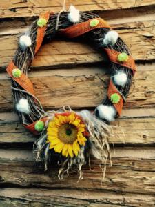 5-Day FALL Craft Challenge   Fall themed fleece wreath   DIY Sheep Crafts